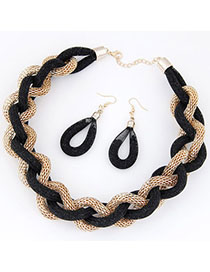 Skinny Black Metal Weave Simple Design Alloy Jewelry Sets