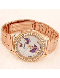 Maternity Rose Gold Diamond Decorated Butterfly Pattern Deisgn Alloy Ladies Watches