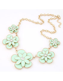 Mustard Ligth Green Flower Decorated Simple Design Alloy Korean Necklaces