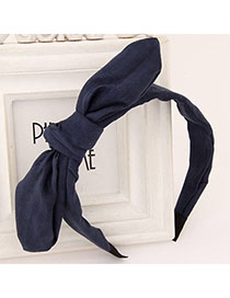 Hemming Navy Blue Pure Color Bowknot Shape Simple Design Fabric Hair Band Hair Hoop