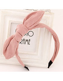 Shining Pink Pure Color Bowknot Shape Simple Design Fabric Hair Band Hair Hoop