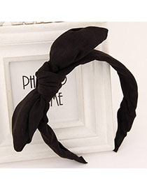 Winding Black Pure Color Bowknot Shape Simple Design Fabric Hair Band Hair Hoop