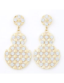 Chiropract White Diamond Decorated Gourd Shape Design Alloy Stud Earrings