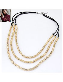 Long Gold Color Metal Weave Multilayer Design Alloy Chains