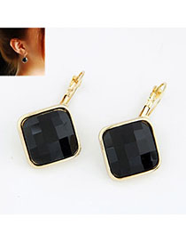 Vellum Black Square Shape Decorated Simple Design Alloy Stud Earrings