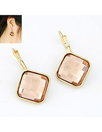 Celtic Pink Square Shape Decorated Simple Design Alloy Stud Earrings