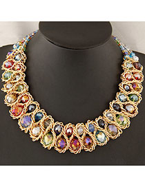 Softshell Multicolor Double Layer Weave Design Alloy Bib Necklaces