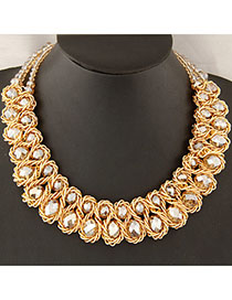 Fall Champagne Gold Double Layer Weave Design Alloy Bib Necklaces