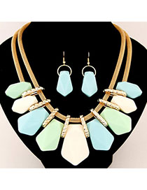 Lariat Light Blue Candy Color Geometrical Shape Decorated Design Alloy Jewelry Sets