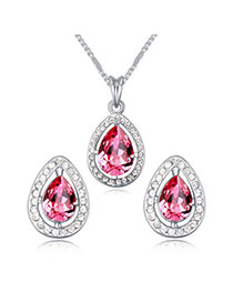 Madewell Plum Red Diamond Decorated Waterdrop Shape Design Alloy Crystal Sets