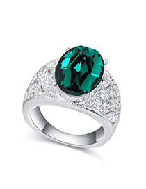 Puritan Green Gemstone Decorated Simple Design Alloy Crystal Rings