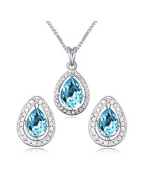 Shopping Navy Blue Diamond Decorated Waterdrop Shape Design Alloy Crystal Sets