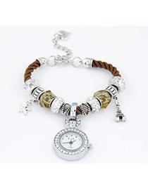 Vellum Brown Elements Decorated Simple Design Alloy Ladies Watches