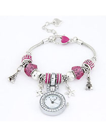 Plussize Plum Red Elements Decorated Simple Design Alloy Ladies Watches