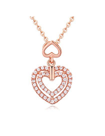 Mysterious White & Rose Gold Diamond Decorated Heart Pendant Design Zircon Crystal Necklaces