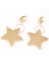 Ultra Gold Color Star Shape Decorated Simple Design Alloy Korean Earrings