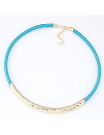Fancy Blue Metal Decorated Simple Design Rope Chokers