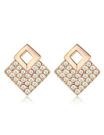 Health Color White & Champagne Gold Diamond Decorated Square Shape Design Alloy Crystal Earrings
