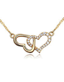 Infant White & Champagne Gold Heart-to-heart Shape Decorated Simple Design Zircon Crystal Necklaces
