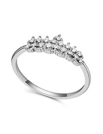 Nameplate White Crown Shape Decorated Simple Design Zircon Crystal Rings