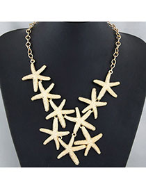 Huge Gold Color Starfish Shape Decorated Simple Design Alloy Bib Necklaces