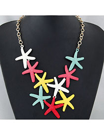 Stationery Multicolor Starfish Shape Decorated Simple Design Alloy Korean Necklaces