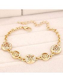 Street Gold Color Leopard Shape Decorated Hollow Out Design