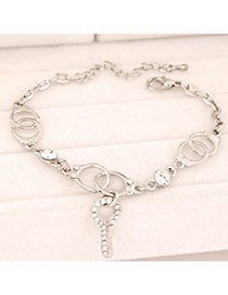 Tattoo Silver Color Diamond Decorated Handcuffs Shape Design