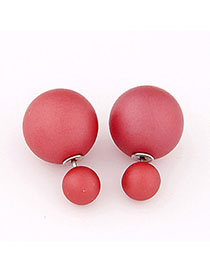 Plaid Red Pure Color Round Shape Simple Design Alloy Stud Earrings