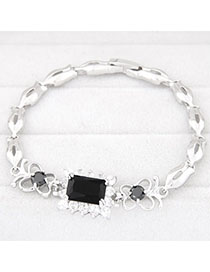 Infinity Black Diamond Decorated Square Shape Design Zircon Fashion Bracelets