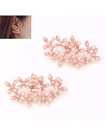 Connor Pink Diamomd Decorated Flower Design Alloy Stud Earrings