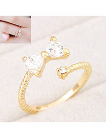 Amethyst Gold Color Bowknot Shape Decorated Simple Design Alloy Korean Rings
