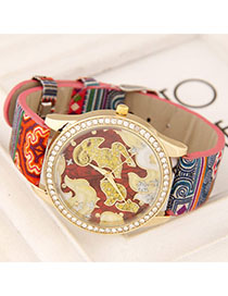 Trendy Red Elephant&tassel Decorated Multi-layer Watch