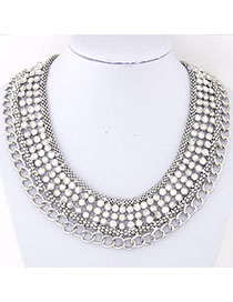 24K Silver Color Chain Decorated Multilayer Design Alloy Chains