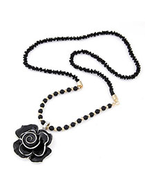 Charming Black Rose Pendant Decorated Simple Design Alloy Beaded Necklaces