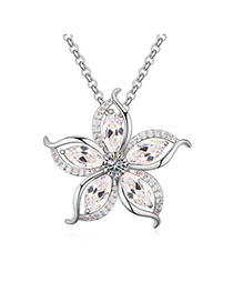 Gorgeous White Diamond Decorated Flower Pendant Design Zircon Crystal Necklaces