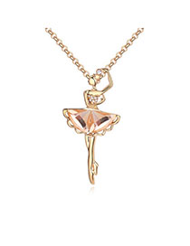 22k Coffee & Champagne Gold Dancing Girl Shape Decorated Simple Design Alloy Crystal Necklaces