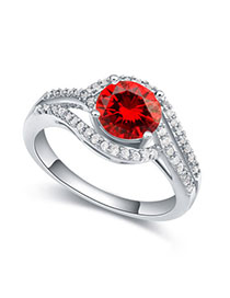 Little Garnet Red Diamond Decorated Simple Design Zircon Crystal Rings