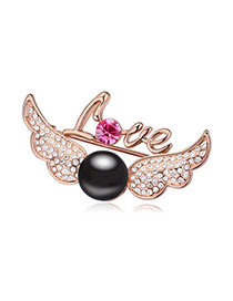 Cheerleadi Black & Rose Gold Pearl Decorated Wings Shape Design Alloy Crystal Brooches