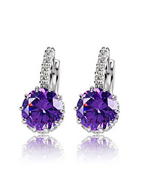 Hippie Purple Diamond Decorated Simple Design Alloy Crystal Earrings