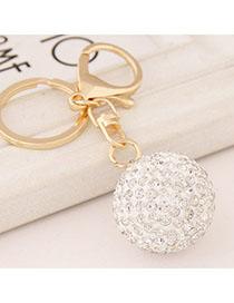 Bespoke White Diamond Decorated Round Design Alloy Fashion Keychain