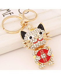 Cute Red Diamond Decorated Cat Shape Design Alloy Fashion Keychain