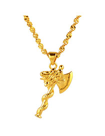 Newborn Gold Color Axe Shape Pendant Simple Design Cuprum Chains