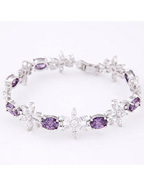 Latest Purple Diamond Decorated Flower Design Zircon Korean Fashion Bracelet