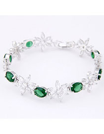 Classic Green Diamond Decorated Flower Design Zircon Korean Fashion Bracelet