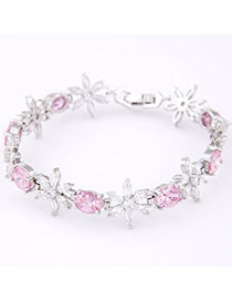 Medieval Pink Diamond Decorated Flower Design Zircon Korean Fashion Bracelet