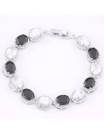 Expression Black & White Diamond Decorated Oval Shape Design Zircon Korean Fashion Bracelet