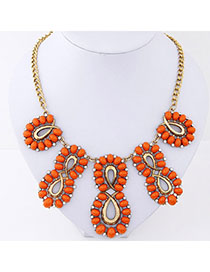 Screw Orange Gemstone Decprated Hollow Out Design Alloy Fashion Necklaces