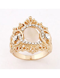 Expression Apricot Diamond Decorated Simple Design Alloy Korean Rings