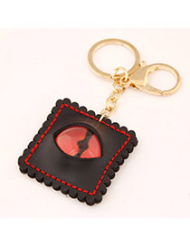 Expensive Black Eye Decorated Square Shape Design Alloy Fashion Keychain